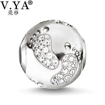 DIY Jewelry Baby Foot Stamp Charms Beads fit for Pandora Bracelets Necklaces European