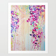 DANCE OF THE SAKURA - Lovely Floral Abstract Japanese Cherry Blossoms Painting, Feminine Peach Blue  Art Print by EbiEmporium