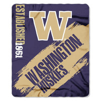 Washington Huskies NCAA Light Weight Fleece Blanket (Painted Series) (50inx60in)