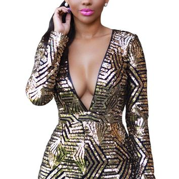 Black Gold Sequin Playsuit