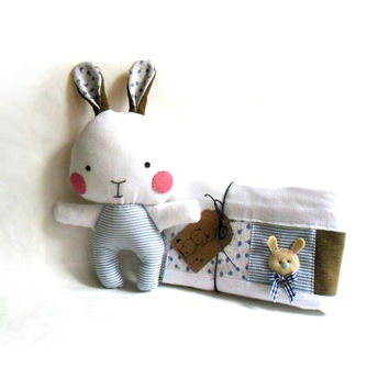 Baby blanket and rag doll bunny rabbit set of two 2 stuffed toy plushie softie soft toy brown blue white 31 cm 12""
