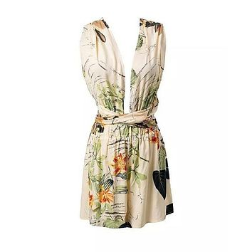 Women summer floral v neck backless jumpsuit sexy beach bodysuit floral romper halter cross casual loose playsuits