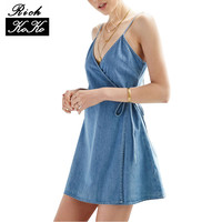 Richkoko Apparel Denim Sexy Blue Plunge Neck Dress Spaghetti Strap Sashes Wrap Dresses Backless Sleeveless Street A-line Dress