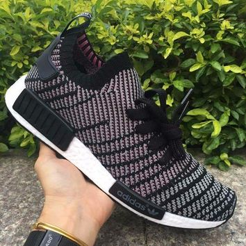 ESBON Best Online Adidas NMD R1 Stlt Spring Summer 2018 Line up Black/purple Running Sport Shoes Camouflage Sneakers  Casual Shoes
