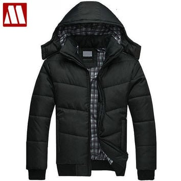 Men winter Hoodies quilted jacket warm fashion Men's puffer overcoat parka Outwear Winter cotton padded hooded warm coat