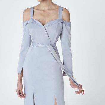 Cold Shoulder Double Split Dress in Powder Blue Satin