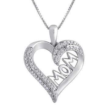 1/10 CTTW Diamond Mom Heart Pendant