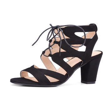THEMOST Woman High heels Sandals Fretwork Cross-tied Open toe Summer Big size 34-43 Causal Lace up Flock Corss-tied Thick heels