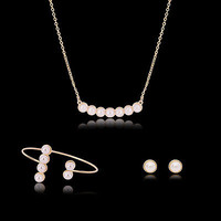 Women Noble Jewelry Set Necklace Earring Bracelet Gold Plated Pearl Pendant
