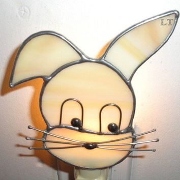 LT Stained glass Bunny Rabbit night light lamp made with slightly streaked tan opal glass