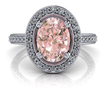 Halo Engagement Ring - Oval Morganite Diamond Engagement Ring 1.28 ctw