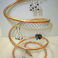 Spiral Copper Earring Tree Holder, Organizer, about 60 pairs, silver wire