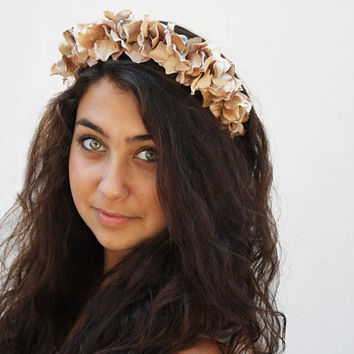 Holiday Gold Flower Crown, Champagne, Soft Gold Flower Headband, Honey, Gold Velvet, Flower Halo, Soft Gold, Hair Wreath