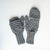 Convertible Glittens in Oxford Grey with Thumb Conversion, Wool Blend  Fingerless Glove Mittens, MADE TO ORDER.