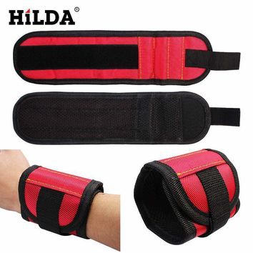 Hilda Strong Magnet Wristband Tool Adjustable Tool Wrist Bands For Screws Nails Nuts Bolts Hand Free