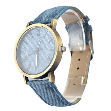 New Fashion Women Men Wristwatch Jean Fabric Clock Sports Watches Analog Quartz Watch For Women Female Clock