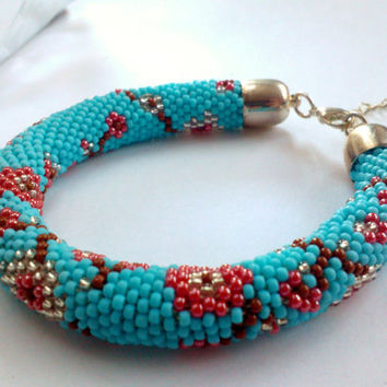Sakura Bracelet Blue Bracelet Cherry Flower Bracelet - Toho Crochet Beaded Jewelry Beadwork