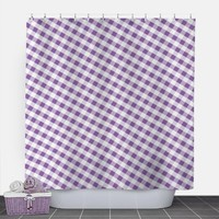 Purple Gingham Shower Curtain - Pattern White Purple Gingham - 71x74 - PVC liner optional - Made to Order