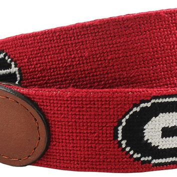 University of Georgia Needlepoint Belt in Red by Smathers & Branson
