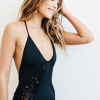 Rove Swimwear 2016 || Cassiopea one piece with crochet in onyx