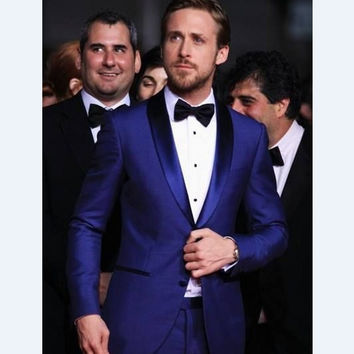 New Style Groomsmen Shawl Lapel Groom Tuxedos Royal Blue Men Suits Wedding/Prom Best Man (Jacket+Pants+Tie+Hankerchief) C21