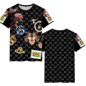 "Hot Sale ""GUCCI"" Popular Women Men Personality Print Short Sleeve Round Collar T-Shirt Pullover Top"