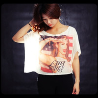 Lana Del Rey Shirt Off Shoulder Tops Women Cropped T-Shirt Free Size One Size Fits All