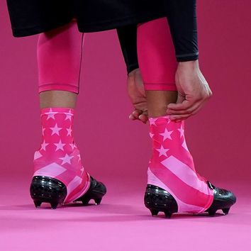 Tactical Pink USA Flag Spats / Cleat Covers