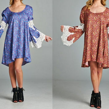 Eliza Bella Bohemian Paisley Print Big Bell Sleeve Dress Sizes SML