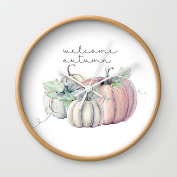 welcome autumn orange pumpkin Wall Clock by Sylvia Cook Photography