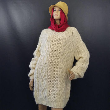 Vintage Aran Chunky Knit Wool Fisherman Sweater Dress  Greek Knitwear Hand Knit Beige Oversized Boho Hipster Jumper