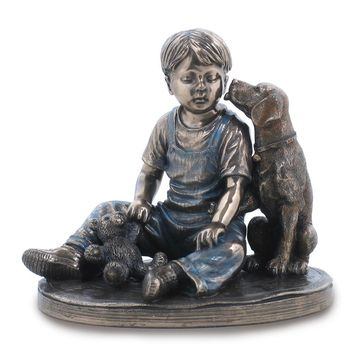 Bronze Resin Boy With Dog Figurine