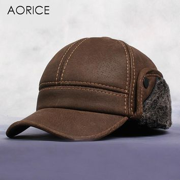 HL083 New Men's Scrub Genuine Leather baseball cap Russian Winter Warm baseball Hat Cap with Faux fur inside