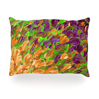 "Ebi Emporium ""Follow the Current III"" Orange Green Oblong Pillow"