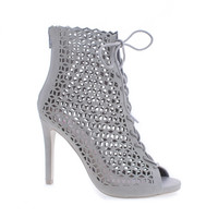Profit Stone By Delicious, Lace Up Geometric Cut Out Stiletto Heel Ankle Bootie