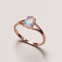 Opal Rose Gold Ring - Teardrop