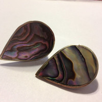 Alpaca Abalone Clip-on Earrings Vintage Silver Mexican Mexico MOP Shell Stone Signed Gift Girl Pink Blue Pearl Bridal Prom Wedding Jewelry