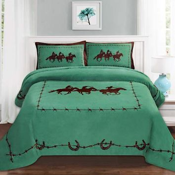 Western Turquoise Barbed Wire Cowboy Running Horse Star Blanket Borrego Fleece - 3 Piece Set
