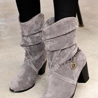 New Women Grey Round Toe Chunky Chain Casual Mid-Calf Boots