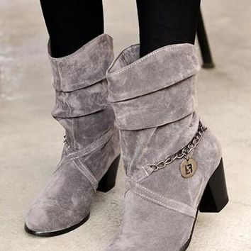 Grey Round Toe Chunky Chain Casual Mid-Calf Boots