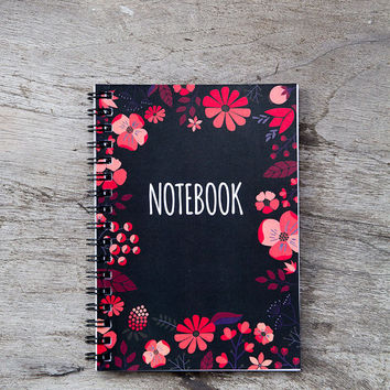 Flower notebook, spiral notebook journal, lined notebook, pocket notebook, blank book pages, travel accessories, black spring floral art