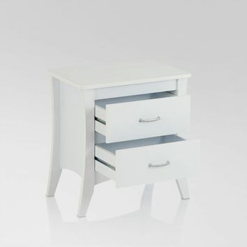 Acme 97264 Babb collection white finish wood curved legs nightstand