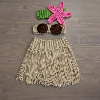 Crochet Hula Costume, Crocheted Baby Hat, Crochet Baby Hat, Crochet Set, Baby Shower Gift, Newborn Photography Prop, Baby Girl, Hula Set