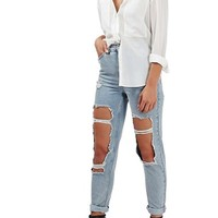 Topshop Destroyed High Rise Ankle Jeans | Nordstrom