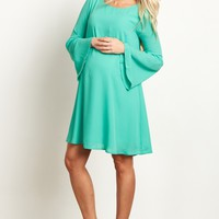 Green-Chiffon-Bell-Sleeve-Dress
