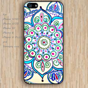 iPhone 5s 6 case colorful blue flower mandala phone case iphone case,ipod case,samsung galaxy case available plastic rubber case waterproof B310