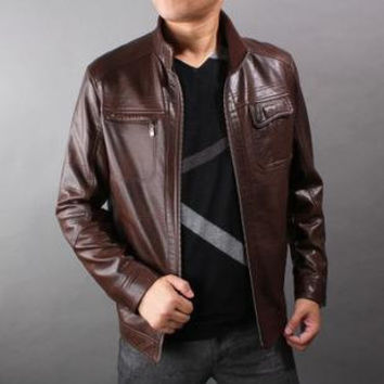 Handmade Men brown leather jacket,  with front ziper and inside pockets, men biker leather jacket, mens brown leather jacket