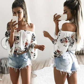 VLXWZ9 Casual Flower Off Shoulder Pagoda Sleeve Tunic Shirt Top Blouse