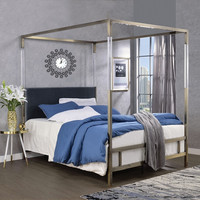 Acme 22670Q Raegan antique brass metal frame gray velvet queen canopy bed