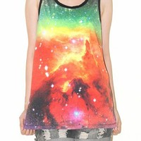 Cosmos Galaxy Universe Space Star Aura Singlet Tank Top Tee Size S